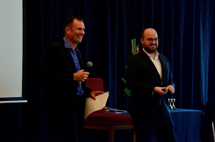 Thomas Smale on stage with Matt Raad