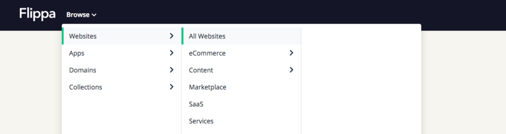 Search on Flippa Marketplace to Buy Websites